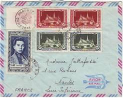 Lettre Par Avion De PHNOMPENH CAMBODGE 1952 Pour La France ..... - Kambodscha