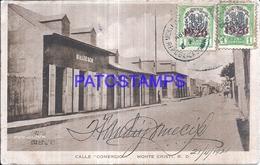 128039 DOMINICAN REPUBLIC MONTE CRISTI STREET CALLE COMERCIO CIRCULATED TO ARGENTINA POSTAL POSTCARD - Postcards