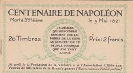 CENTENAIRE DE NAPOLEON...  CARNET  20 TIMBRES - Libretas