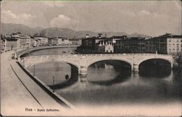 ! Alte Ansichtskarte Pisa, Ponte Solferino, Brücke, Bridge, 1910, Marina Di Pisa, Zürich - Pisa