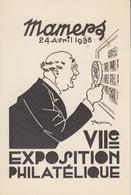 Carte   FRANCE  VIIéme  Exposition  Philatélique   MAMERS   1938 - Philatelic Exhibitions