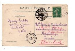INDOCHINE CARTE POUR HAÏPHONG PUIS THAÏ BINH 1910 - Lettres & Documents