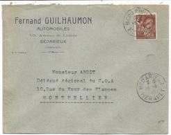 IRIS 2FR LETTRE DAGUIN TRACES DE PISTON BEDARIEUX 19.3.1945 HERAULT - Poststempel (Briefe)