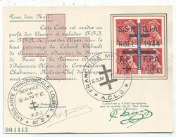 MERCURE 30C BLOC DE 4 CARTE SPECIALE NOEL 1944 FFI FM AMULANCE BRIANCONNAIS - Liberation