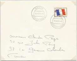 FM DRAPEAU LETTRE SANTO NOUVELLES HEBRIDES 13.8.1971  RARE SUPERBE - Franchise Militaire (timbres)