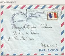 FM DRAPEAU LETTRE CAYENNE GUYANE 29.6.1967 FRANCAISE + MENTION EN MISSION INTINERANTE - Franchise Stamps