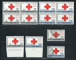 Aden South Arabia 1963 Red Cross Set 2 Plate & Imprint Singles, Blocks Of 4 MLH / MNH & Set FU - Aden (1854-1963)
