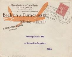 SEMEUSE 50C ENV ILLUSTREE  ENTETE COUTELLERIE BECHON ST REMY SUR DUROLLE PUY DE DOME DAGUIN 2/3/32 POUR LONS LE SAUNIER - France