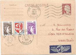 ENTIER DECARIS 25C CP+ SABINE + BLASON MEC 976 DZAOUZI 18.3.1981 COMORES + TIMBRE A DATE - 1960 Marianne (Decaris)