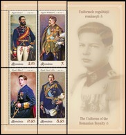 ROMANIA, 2019, THE UNIFORMS OF THE ROMANIAN ROYALTY, Kings, 4 Separate Stamps As Images, MNH (**); LPMP 2264 - 1948-.... Repúblicas