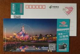 Shanghai Disneyland Resort,China 2017 Hubei Post Phoenix Cinema Ticket Exchange Certificate Advert Pre-stamped Card - Childhood & Youth