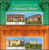 ROMANIA, 2019, Joint Issue ROMANIA MALTA, Architecture, Palaces, 2 Stamp + Label, MNH (**); LPMP 2258 - 1948-.... Repúblicas