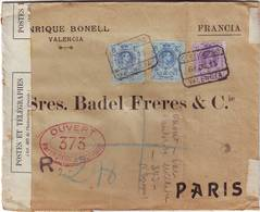 GUERRE DE 14 , Lettre RECOMMANDEE D' ESPAGNE CENSUREE Pour Paris 1915 , Spain , Espana - 1877-1920: Période Semi Moderne
