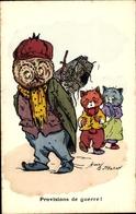 Artiste Cp N. H., Provisions De Guerre, Katzen, Eule - Tierwelt & Fauna