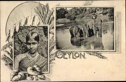 Cp Sri Lanka, Mädchen, Elefanten Im Fluss - Sri Lanka (Ceylon)