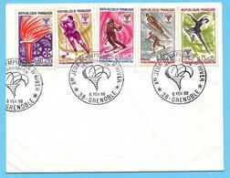 FDC 06-02-1968 Sur Les 5 Timbres-postes Des Xèmes Jeux Olympiques D'Hiver De GRENOBLE 1968 Olympic Games 68 - Jeux Olympiques