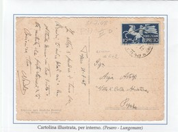 St.Post.191D - REPUBBLICA 1948 - 3°PeriodoTarif. - Cartolina Illustrata Per Pesaro Città 31.7.48 - 6. 1946-.. Repubblica