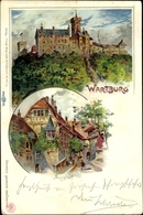 Lithographie Lutherstadt Eisenach In Thüringen, Wartburg, Burghof - Germany
