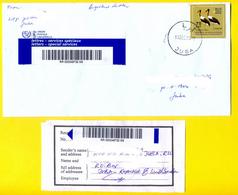 SOUTH SUDAN Registered Cover With 2017 75 SSP Overprint Stamp On 5 SSP Birds, With Receipt - Soudan Du Sud Südsudan - Sud-Soudan