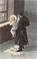 Joyeux Noël - Père Noël En Brun Avec L'enfant Jésus - Originale - Noël