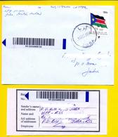SOUTH SUDAN Registered Cover With 2017 75 SSP Overprint Stamp On 1 SSP Flag, With Receipt - Soudan Du Sud Südsudan - Zuid-Soedan
