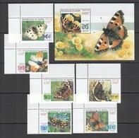 E289 1998 BENIN FLORA & FAUNA INSECTS BUTTERFLIES 1BL+1SET MNH - Butterflies