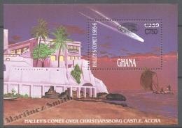 Ghana 1989 Yvert BF 140, Halleys Commet, Overprinted New Value - Miniature Sheet - MNH - Ghana (1957-...)