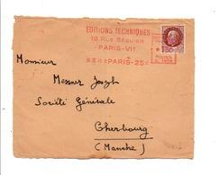 PETAIN + EMA SUR DEVANT DE LETTRE DE PARIS 25 1943 - Marcophilie (Lettres)