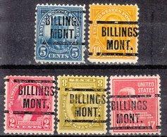 USA Precancel Vorausentwertung Preo, Locals Montana, Billings 204, 5 Diff. Perf. 11x10 1/2 - Vereinigte Staaten