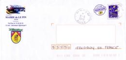 Enveloppe Illustrée, Ville De Le Pin 03, Allier, Mairie - EMA (Printer Machine)