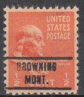USA Precancel Vorausentwertung Preo, Locals Montana, Browning 734 - Vereinigte Staaten