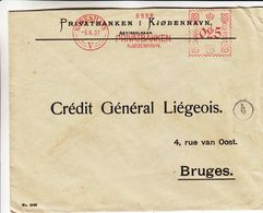 Danemark - Lettre De 1927 ° - Oblit Kobenhavn - Exp Vers Bruges - EMA - Empreintes Machines - - Affrancature Meccaniche Rosse (EMA)