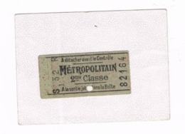 Ticket . METROPOLITAIN 2éme Classe - Europe