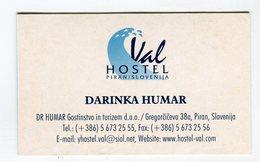 CdV °_ Hotel-Slovénie-Piran-Val Hostel Darinka Humar - Visiting Cards