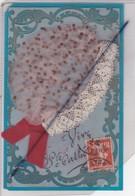 Carte Celluloïd Sainte Catherine Avec Ajout ,bonnet Tissus Et Dentelles - St. Catherine