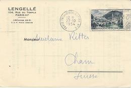 IMPRIME 1954 POUR LA SUISSE AVEC TIMBRE A 6 FR LOURDES - Marcophilie (Lettres)