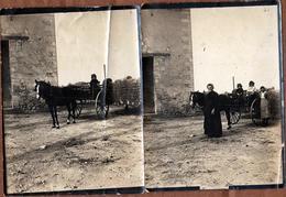 2 Tirages Photos Albuminés Originaux Voiture Hippomobile En 1915 - Saint-Lazare (Dordogne) 24440 - Calèche Et Enfants - Personnes Anonymes