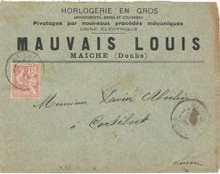 LETTRE 1903 POUR LA SUISSE AVEC TIMBRE A 15 CT TYPE MOUCHON - TARIF FRONTALIER - - Marcophilie (Lettres)