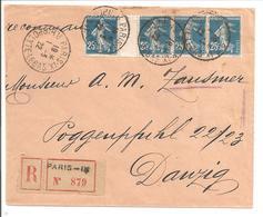 1922 Réco Paris IX 1.3.22 Vers DANZIG/GDANSK Semeuse 25c Bande De 4TP Avec Marge Blanche Centrale Sans Mill - 1877-1920: Semi-Moderne