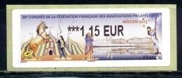 """LISA 2  1,15e TARIF LETTRE VERTE 50 Gr """" PHILA FRANCE MACON 2015 """" Championnat De France De Philatélie NEUF ** - 2010-... Geïllustreerde Frankeervignetten"""