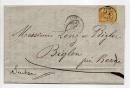 - Lettre LYON Pour BIGLEN (Suisse) 4 AOUT 1881 - 25 C. Bistre S. Jaune Type Sage II - Cachet AMBULANT - - 1877-1920: Periodo Semi Moderno