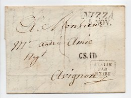 - Marque Linéaire NICE (NIZZA) Pour AVIGNON 5 NOV 1827 - Taxe Manuscrite 8 Décimes - Cachet ITALIE PAR ANTIBES - - Marcophilie (Lettres)