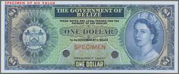 Belize: The Government Of Belize 1 Dollar 1974-76 Color Trial SPECIMEN In Blue Instead Of Green Colo - Belize
