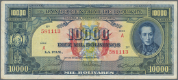 Bolivia / Bolivien: 10.000 Bolivares 1945, P.146, Lightly Stained Paper With A Few Folds. Condition: - Bolivien