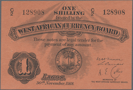 British West Africa: West African Currency Board 1 Shilling 1918, P.1a, Excellent Condition And Key - Banknoten