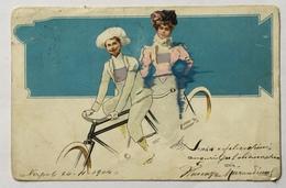 COPPIA IN TANDEM ILLLUSTRAZIONE LIBERTY 1912 VIAGGIATA FP - 1900-1949