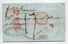 - Lettre MADRID (Espagne) Pour LYON 20 JANV 1843 - Taxe Manuscrite 17 Décimes - A ETUDIER - - Marcofilie (Brieven)