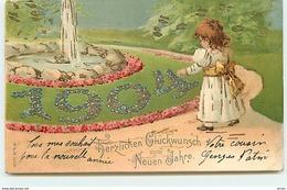 N°13082 - Carte Gaufrée - Herzlichen Glückwunsch Zum Neuen Jahre - 1904 - Fillette - Anno Nuovo