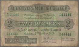 Ceylon: Nice Pair With Ceylon 2 Rupees 1939 P.21b (VG/F-) And For The Ottoman Empire 1 Piastre 1913 - Sri Lanka