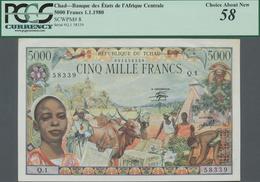 Chad / Tschad: Banque Des États De L'Afrique Centrale - République Du Tchad 5000 Francs 1980, P.8, G - Chad